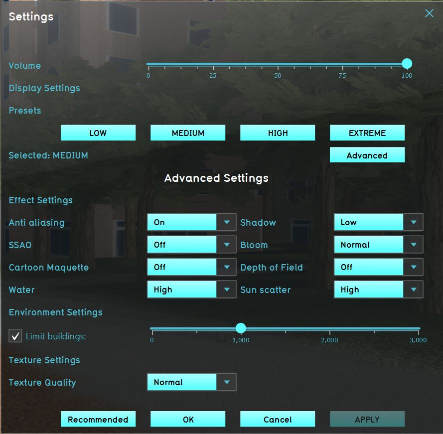 The settings screen. The settings screen allows you to adjust the graphics.